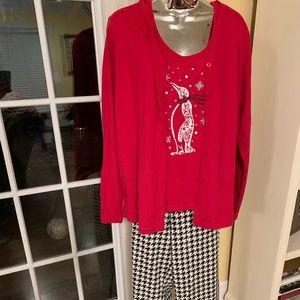 NWT Kim Rogers red penguin lounge set/pajamas.